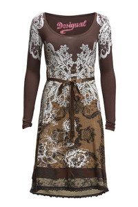 DESIGUAL VEST ARGARET REP CHOCOLATE DRESS 539.40.- BOOZT.COM